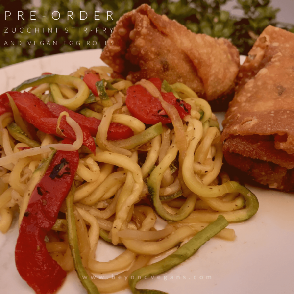 Beyond Vegans Zucchini Stir-fry and Vegan Egg Rolls